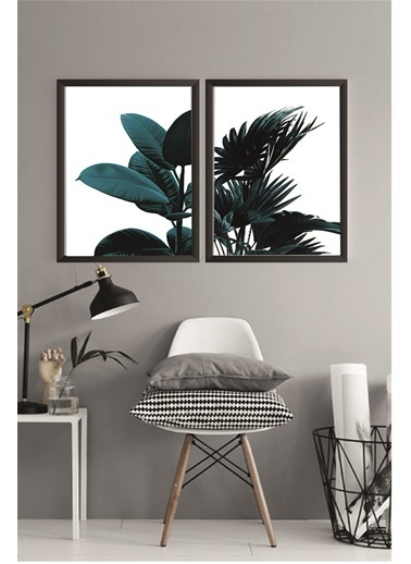Lyn Home & Decor Koyu Yeşil Yapraklar Çerçeveli Poster 2 Li Tablo 23.5X33,5 Siyah